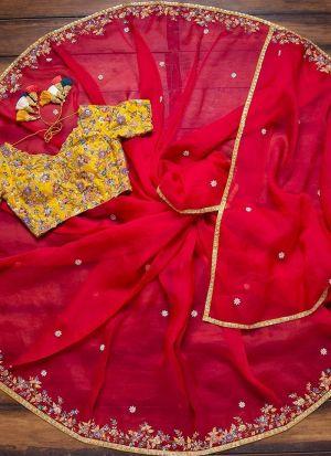 Ravishing Candy Red Organza Silk Saree
