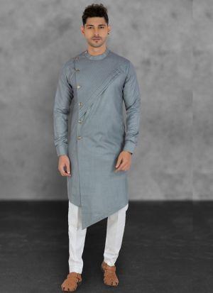 Ravishing Grey Cotton Kurta Set