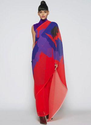 Ravishing Multi Color Silk Blend Saree