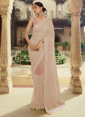 Ravishing Pastel Brown Moti Work Saree