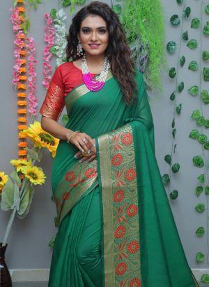 Ravishing Pure Cotton Silk Green Saree