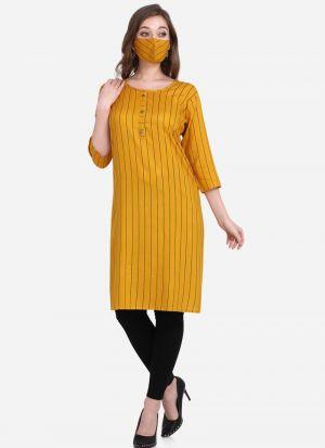 Rayon Digital Printed Kurti In Yellow