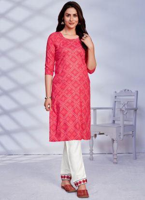 Rayon Pink Kurti For Women