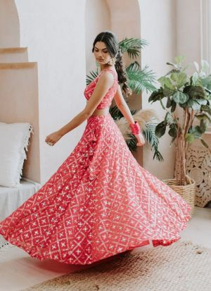 Red Adorable Banglori Silk Lehenga