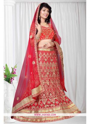 Red Bridal Semi Stitched Chaniya Choli
