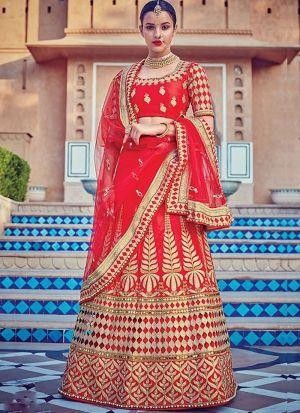 Red Color Malbari Silk Designer Lehenga Choli