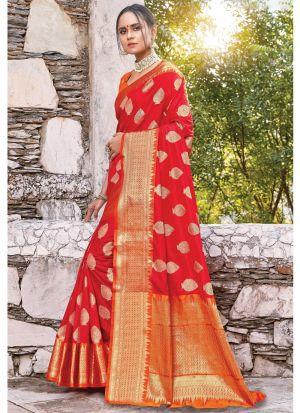 Red Color South Indian Wedding Dola Silk Saree