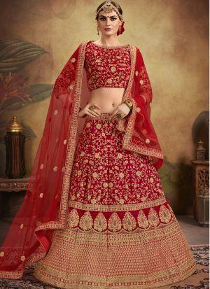 Red Color Wedding Bridal Lehenga Choli In Pure Velvet With Soft Net Dupatta