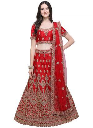Red Designer Wedding Lehenga Choli With Silk Fabric