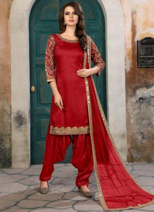 Red Embroidered Aanaya New Design Wedding Suit