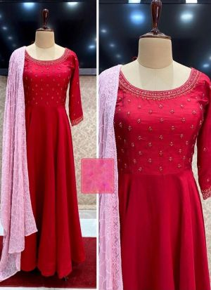 Red Embroidered Georgette Anarkali Gown