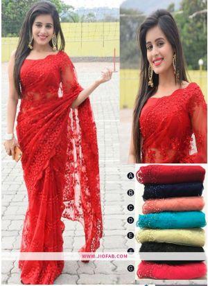 Red Embroidered Work Soft Net Partywear Saree