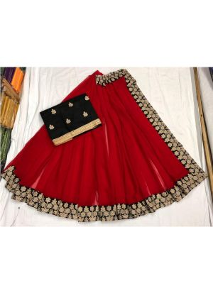 Red Georgette Designer Traditional Saree