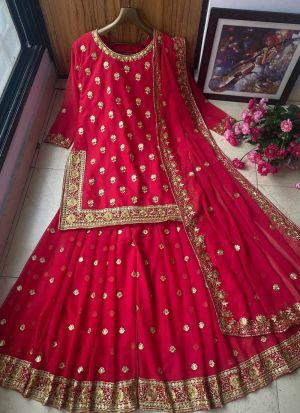 Red Georgette Embroidered Sharara Suit