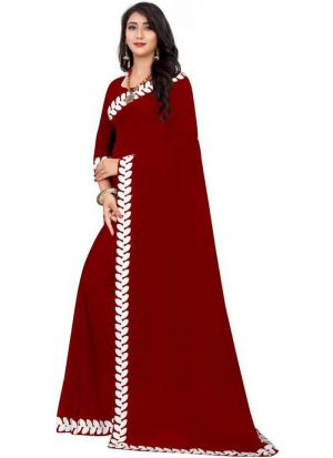 Red Georgette Embroidery Work Saree