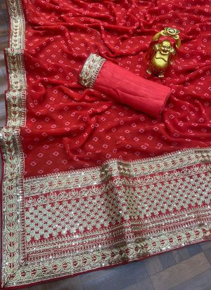 Red Georgette Sequence Work Saree
