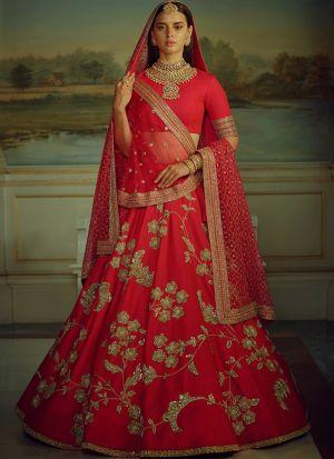 Red Heavy Embroidery Malai Satin Fabric Partywear Designer Lehenga With Bridal Net Dupatta