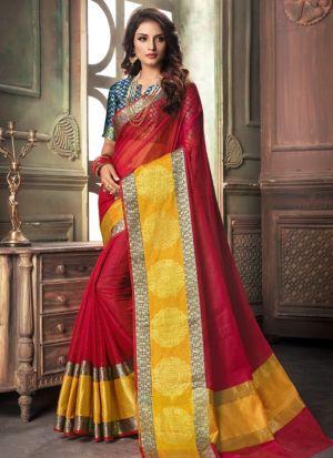 Red Kota Doria Checks Fancy Designer Traditional Saree