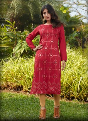 Red Long Sleeves Kurti With Embellished Work