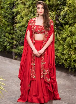 Red Malai Satin Silk Latest Design Thread Work Lehenga