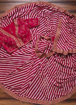 Red Mushroom Silk Leheriya Saree