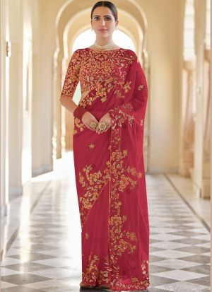 Red Organza Festive Wear Saree