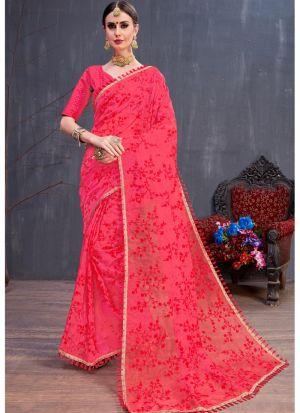 Red Organza Resham Embroidery Party Wear Designer Saree