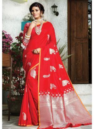 Red Paper Silk Designer Traditional Saree For Wedding