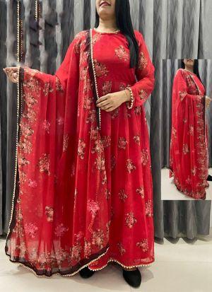 Red Printed Georgette Suit