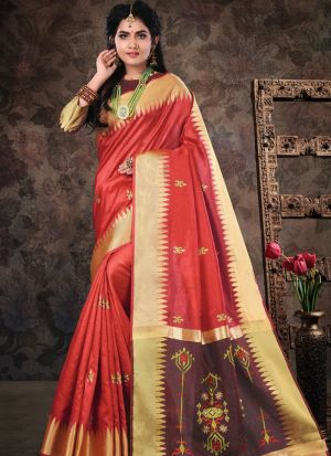 Red Pure Crystal Silk Wedding Saree Collection