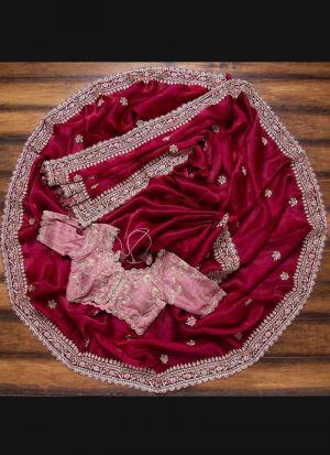 Red Rangoli Georgette Silk Saree