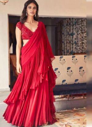 Red Ruffle Designer Saree