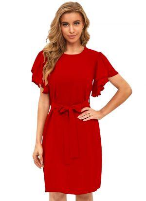 Red Ruffle Sleeves Short Dress
