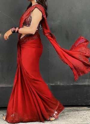 Red Sequence Work Party Wear Saree