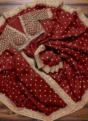 Red Sequence Work Traditional Saree
