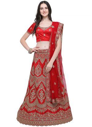 Red Silk Party Wear Lehenga Choli
