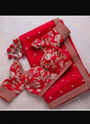Red Soft Georgette Wedding Saree