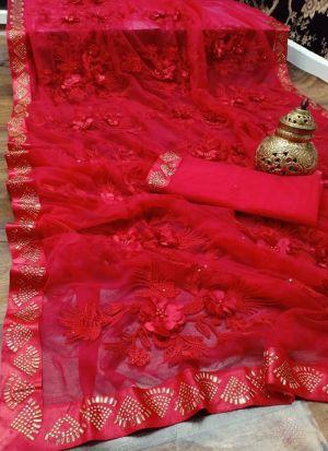 Red Soft Mono Nylon Net Wedding Saree