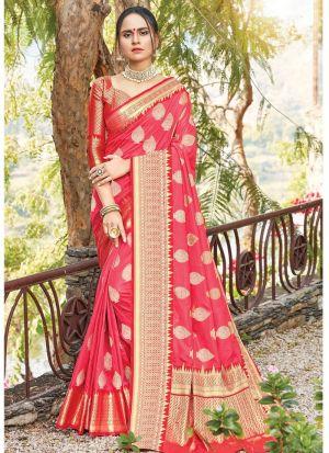 Red South Indian Wedding Dola Silk Saree