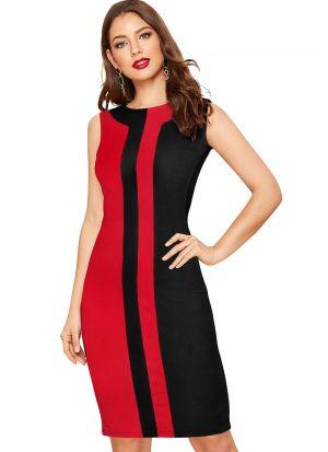 Red Stripe Red Party Wear Short Dress