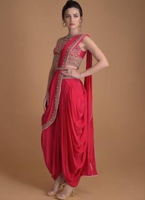 Red Taffeta Silk suit with kamar belt