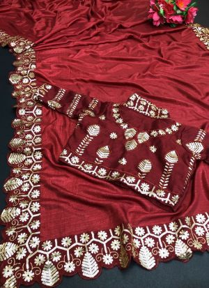 Red Vichitra Silk Sequence Work Saree