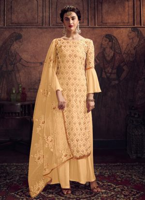 Refreshing Faux Georgette Salwar Suit With Swarovski Work