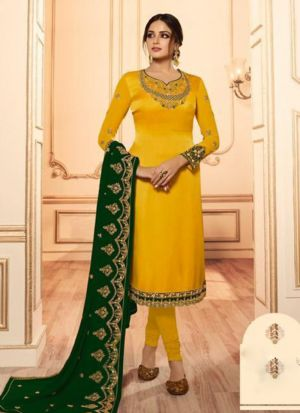 Refreshing Heavy Satin Embroidery Salwar Suit