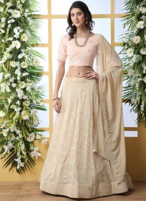 Refreshing Look Beige Traditional Wear Georgette Lehenga Choli