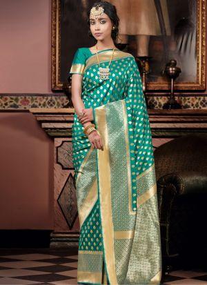 Refreshing Look Green Zari Work Saree
