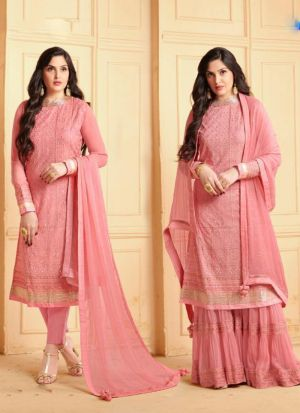 Refreshing Pink Faux Georgette Embroidered Salwar Suit