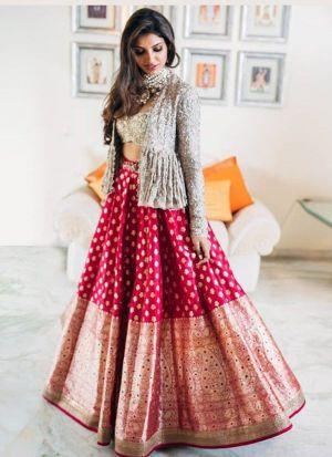 Refreshing Rani Digital Print Lehenga Choli With Designer Koti