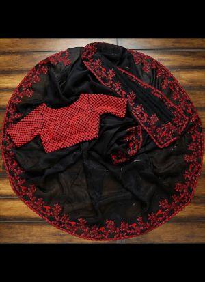 Rich Look Black Organza Party Wear Saree