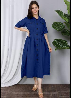 Royal Blue Cotton Plain Kurti